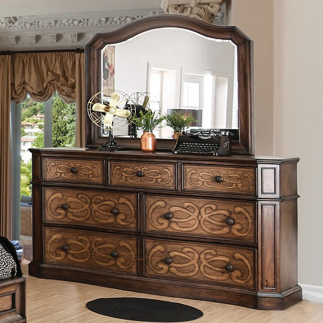 Emmaline Brown Wood Traditional Finish Dresser With Mirror