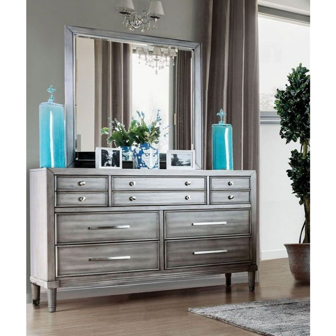 Daphne Grey Wood Traditional Finish Dresser With Mirror
