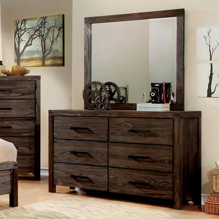 Rexburg Dark Grey Wood Finish Transitional Dresser With Mirror