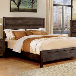 Rexburg Dark Grey Wood Finish Transitional Queen Bed