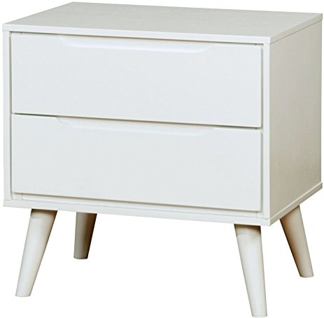 Lennart White Solid Wood Finish Modern Nightstand