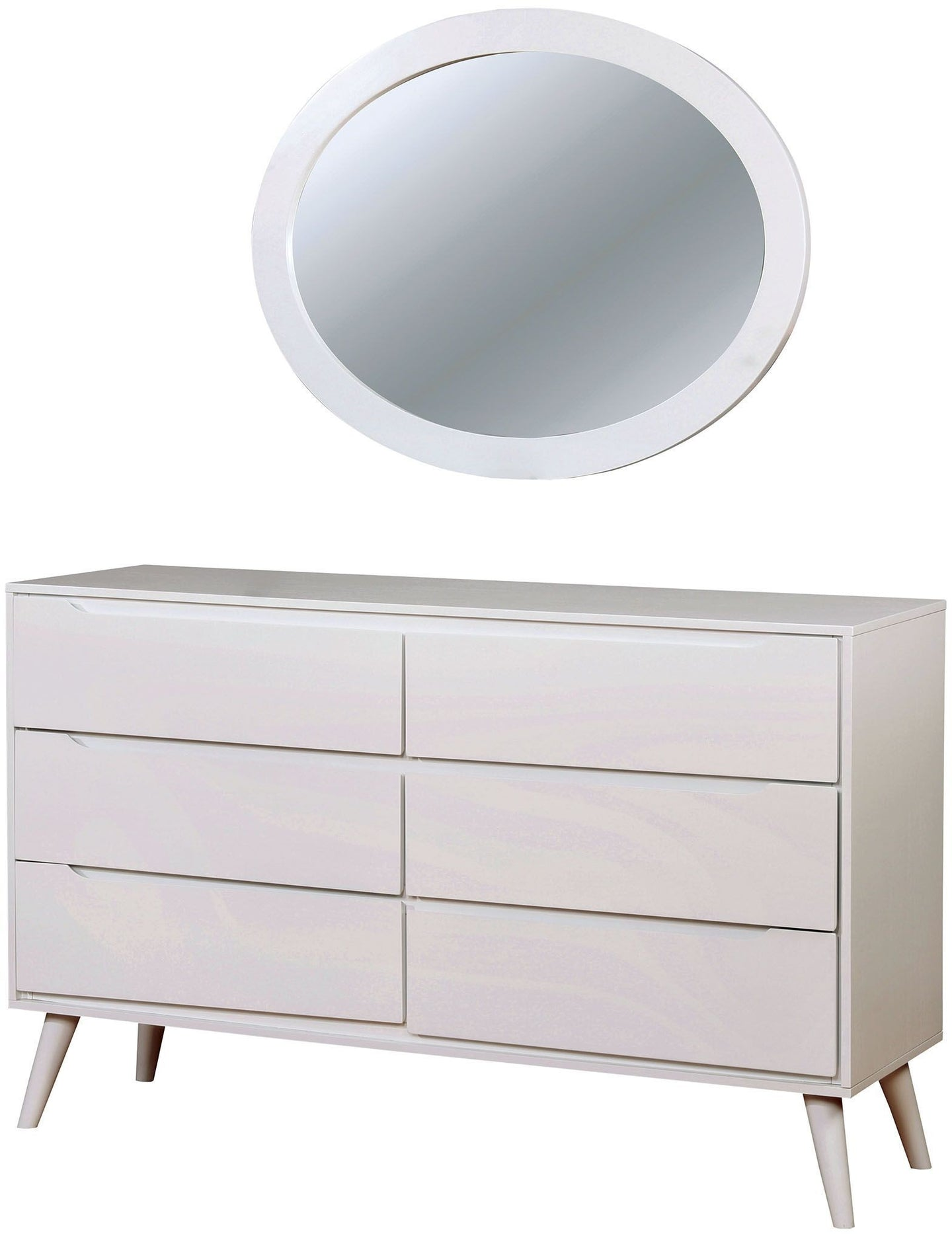 Furniture of America Lennart II White Dresser With Oval Shape Mirror