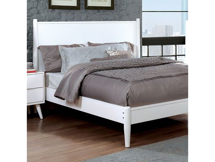 Lennart White Solid Wood Finish Modern Twin Bed