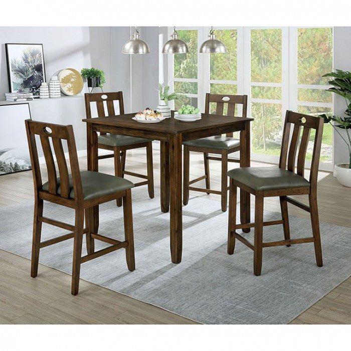 Furniture Of America Brinley II Walnut Wood Finish 5 Piece Dining Table Set