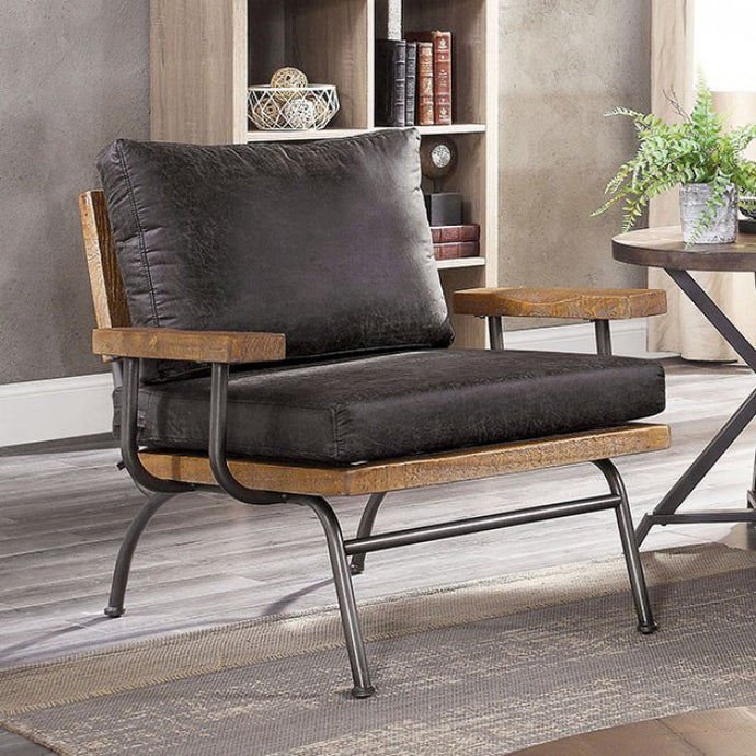 Furniture Of America Santiago Gray Leather And Wood Finish Accent Chair