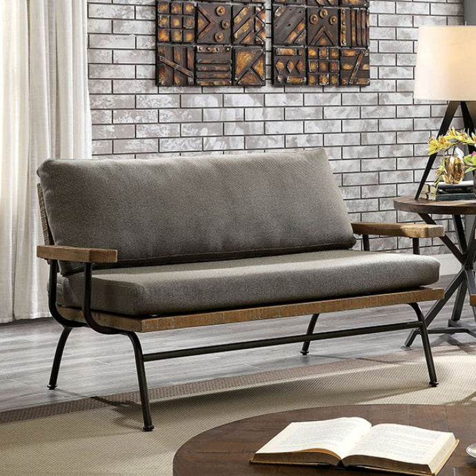 Furniture Of America Santiago Brown Wood Leather Finish Loveseat