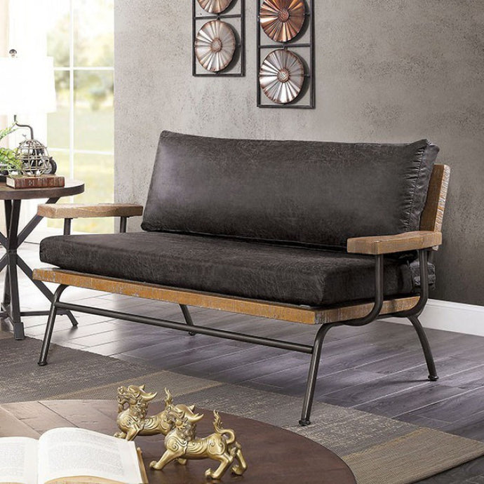 Furniture Of America Santiago Dark Gray Wood Leather Finish Loveseat