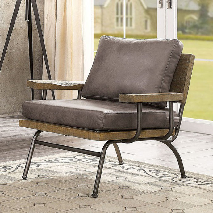 Furniture Of America Santiago Ash Brown Leather And Wood Finish Accent Chair