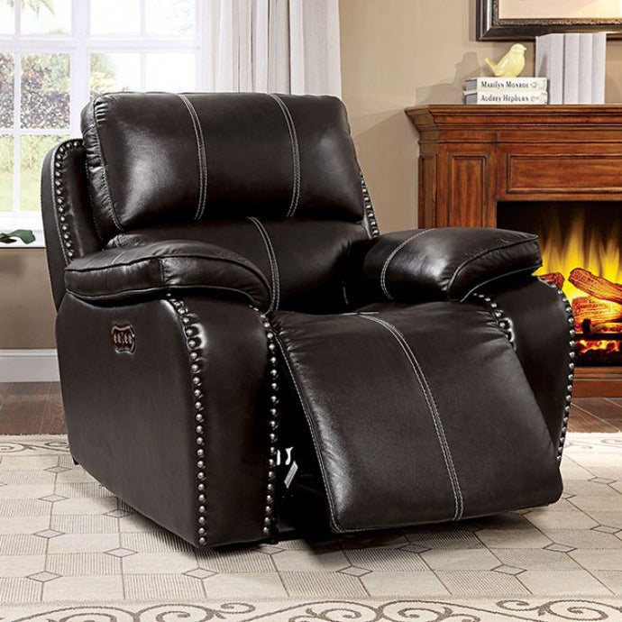 Furniture Of America Eppi Dark Brown Grain Leather Finish Recliner Chair