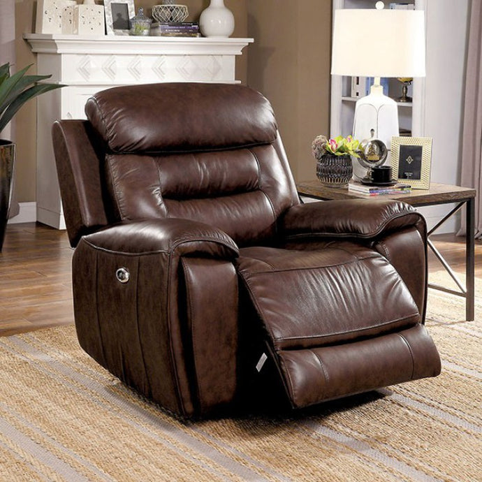 Furniture Of America Victor Brown Grain Leather Finish Recliner Chair