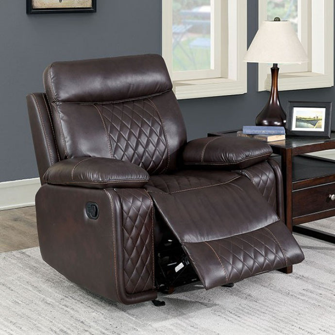 Furniture Of America Manda Brown Breathable Leatherette Finish Recliner Chair