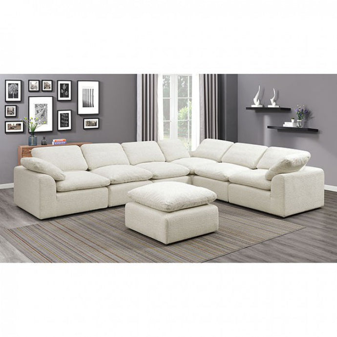 Furniture Of Americ Joel Beige Chenille Fabric Finish 6 Seater