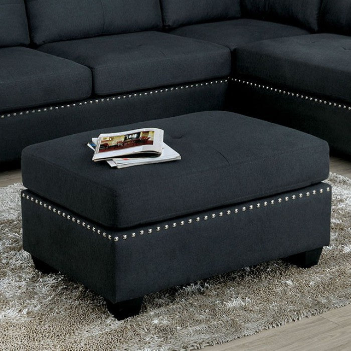 Furniture Of America Lita Gray Linen Finish Ottoman