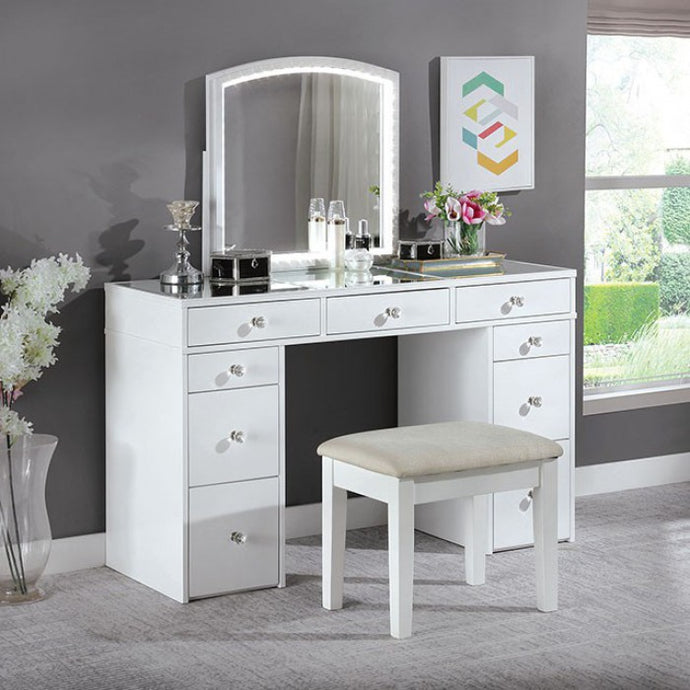 Furniture Of America Louise White Wood Finish 3 Piece Vanity Desk Set