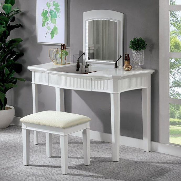 Furniture Of America Stina White Wood Finish 3 Piece Vanity Desk Set