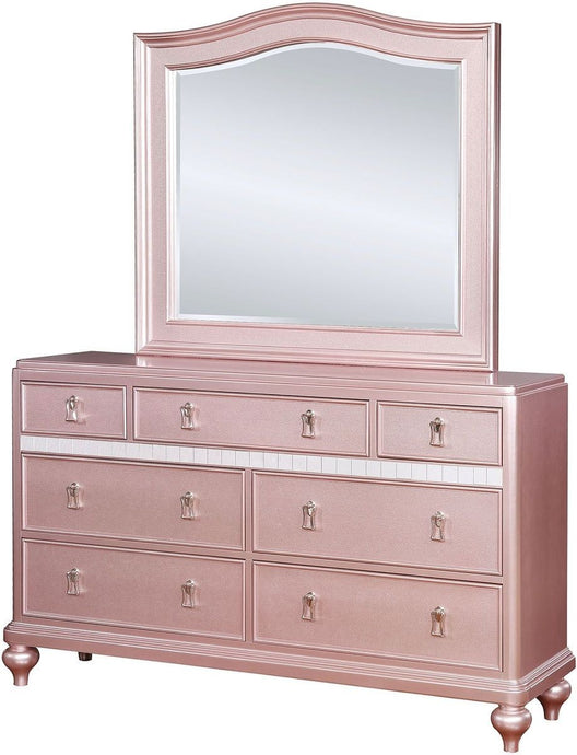 Furniture Of America Avior Pink Wood Finish Dresser With Mirror