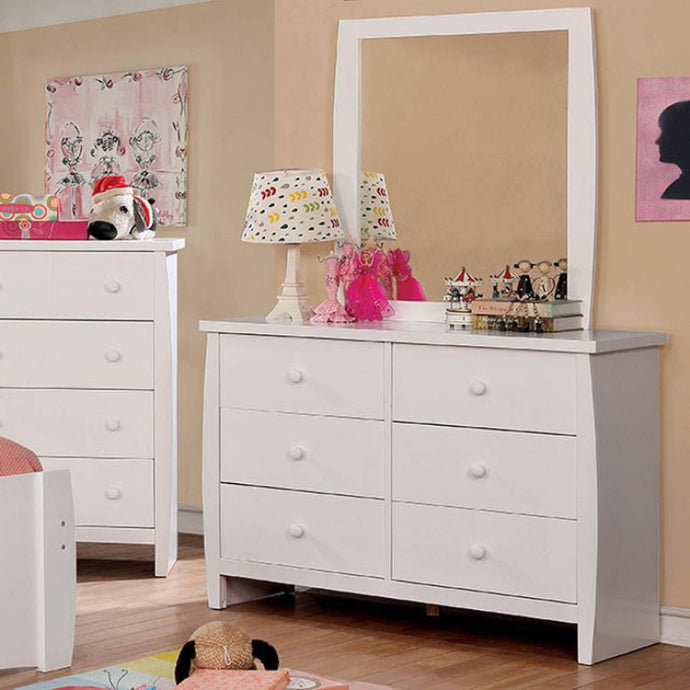 Furniture Of America Marlee White Wood Finish Dresser With Mirror
