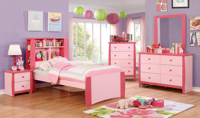 Furniture Of America Marlee Pink Wood Finish 4 Piece Full Bedroom Set
