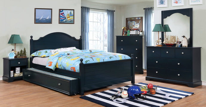 Furniture Of America Diane Blue Wood Finish 5 Piece Full Bedroom Set