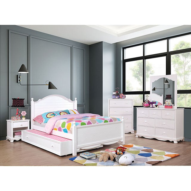 Furniture Of America Dani White Wood Finish 5 Piece Full Trundle Bedroom Set