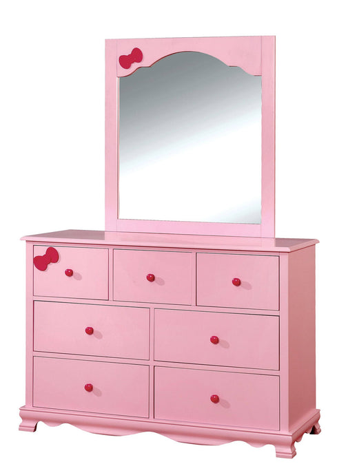 Furniture Of America Dani Pink Wood Finish Dresser With Mirror