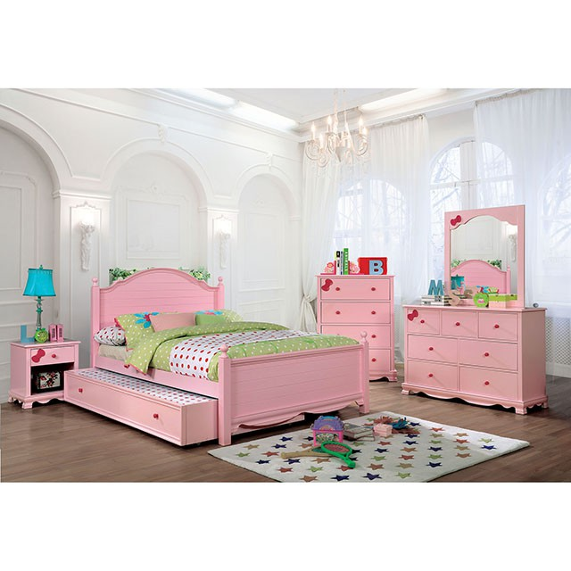 Furniture Of America Dani Pink Wood Finish 5 Piece Full Trundle Bedroom Set
