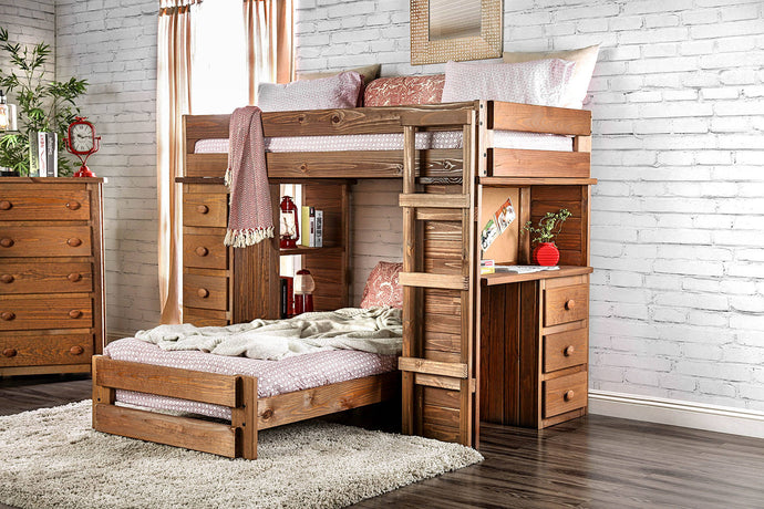 Furniture Of America Beckford Mahogany Wood Finish Twin Over Twin Loft Bed