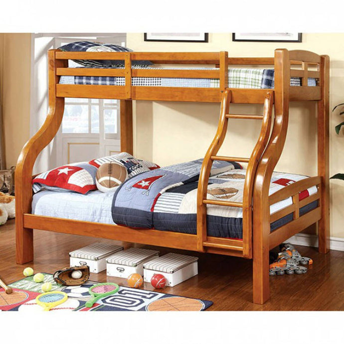 Furniture Of America Solpine Oak Wood Finish Twin Over Full Bunk Bed