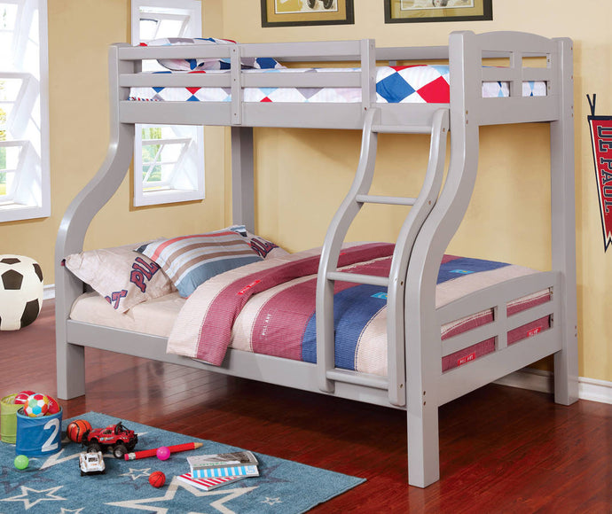Furniture Of America Solpine Gray Wood Finish Twin Over Full Bunk Bed