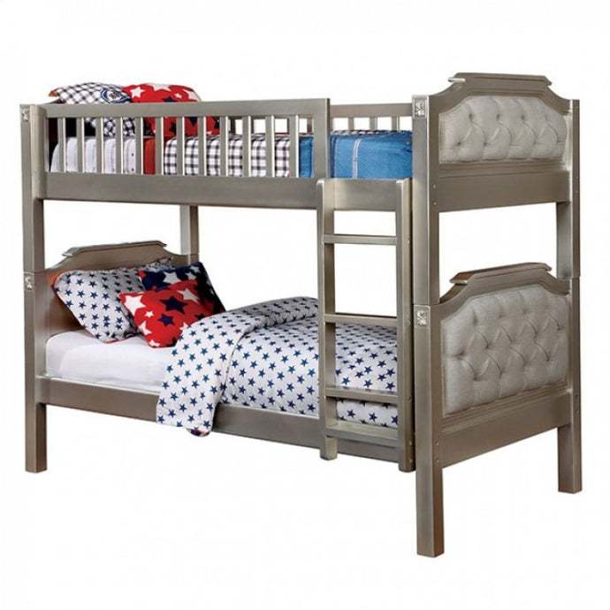 Furniture Of America Beatrice Champagne Linen Finish Twin Over Twin Bunk Bed