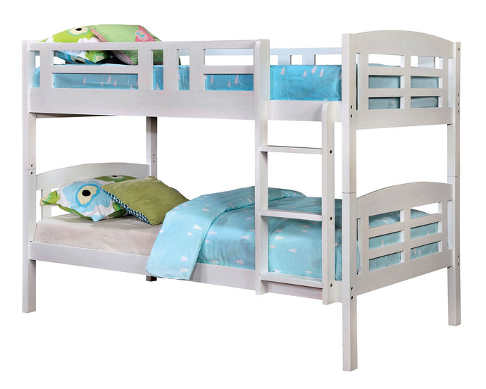 Furniture Of America Cassie White Wood Finish Twin Over Twin Bunk Bed