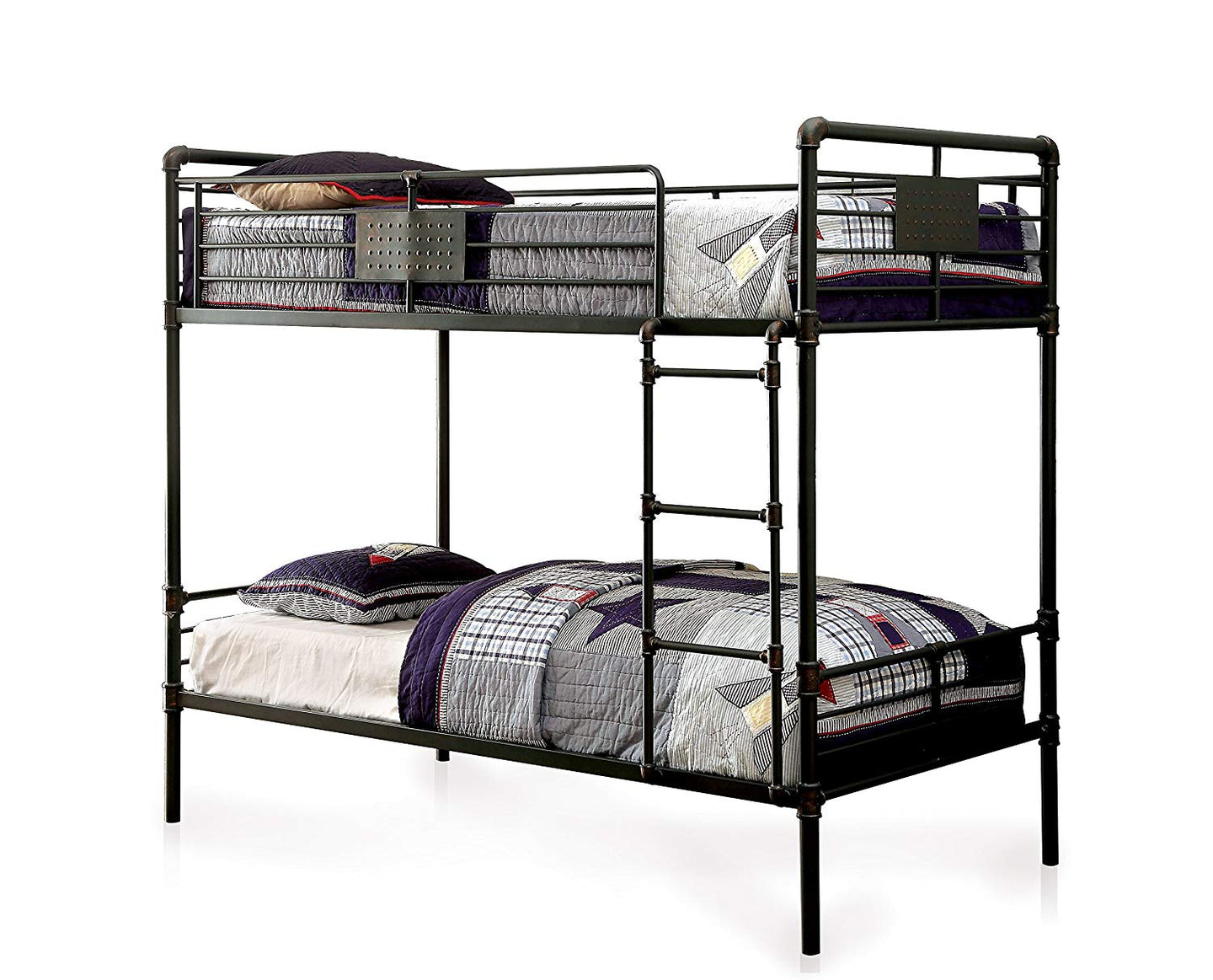 Furniture Of America Olga I Antique Black Metal Finish Full Over Full Bunk Bed