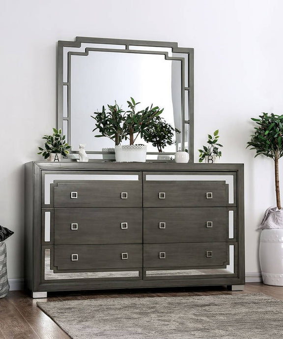 Furniture Of America Jeanine Gray Wood Finish Dresser With Mirror