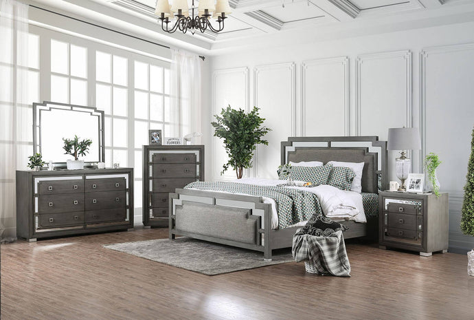 Furniture Of America Jeanine Gray Wood Finish 4 Piece Eastern King Bedroom Set