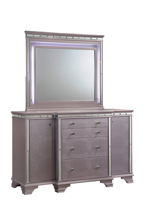 Furniture Of America Claudette Silver Wood Finish Dresser With Mirror