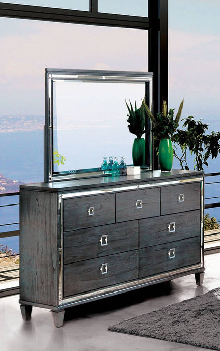Furniture Of America Clover Gray Wood Finish Dresser With Mirror