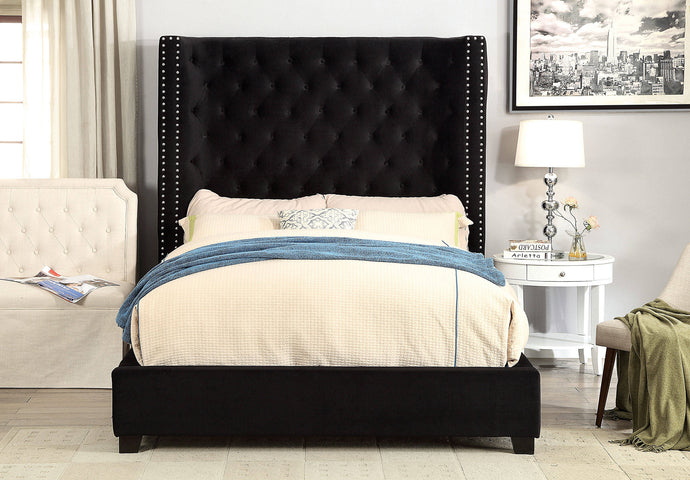 Furniture Of America Mirabelle Black Flannelette Finish Queen Bed