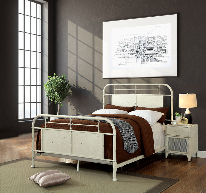 Furniture Of America Haldus White Metal Finish Eastern King Bed