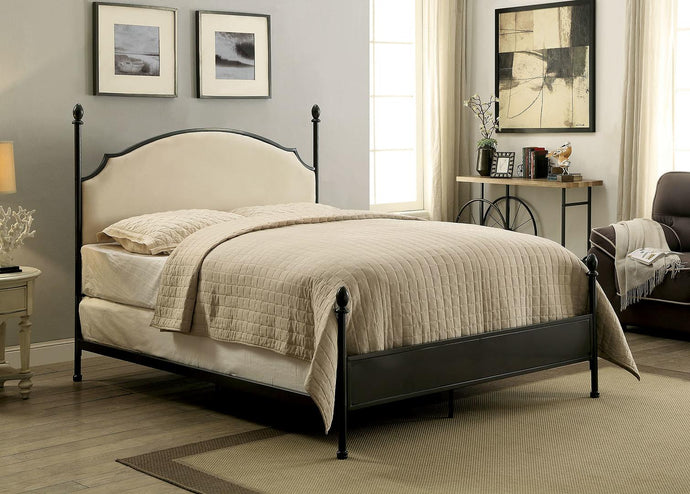 Furniture Of America Sinead Gunmetal Fabric Finish Queen Bed