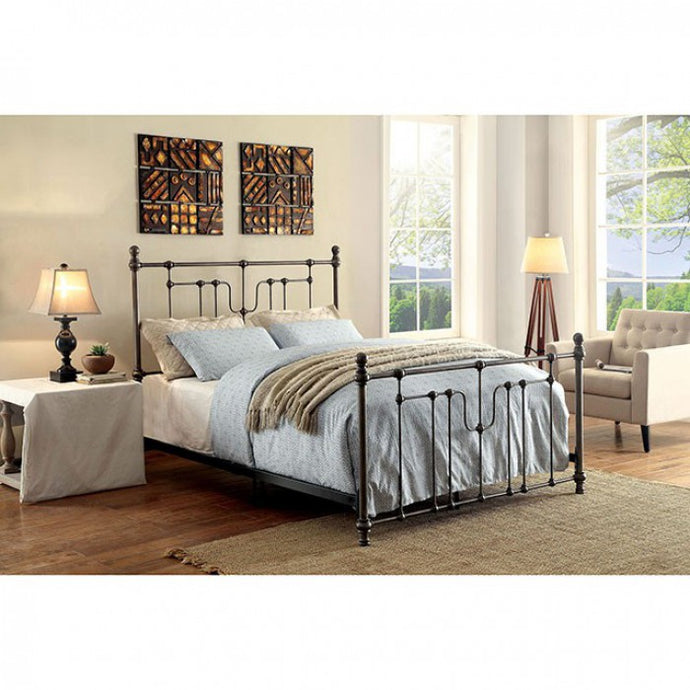 Furniture Of America Elysia Black Metal Finish California King Bed
