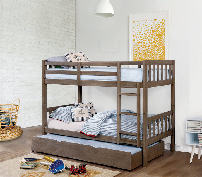 Furniture Of America Emilie Gray Wood Finish Twin Over Twin Bunk Bed With Trundle
