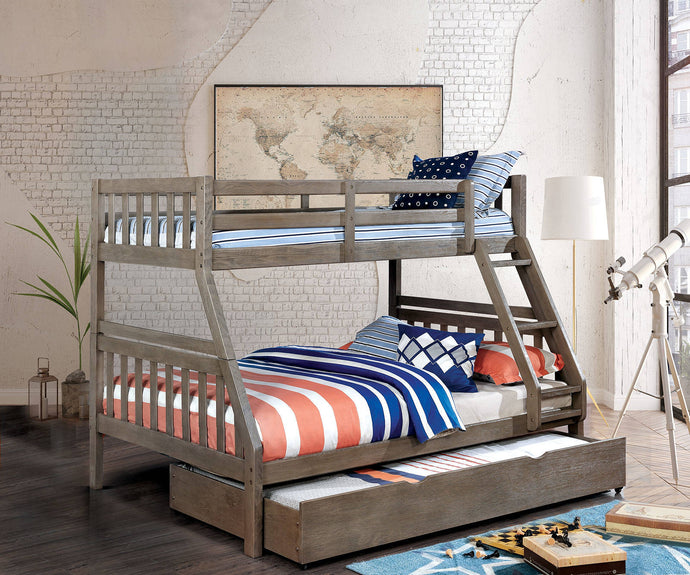 Furniture Of America Emilie Gray Wood Finish Twin Over Full Bunk Bed With Trundle