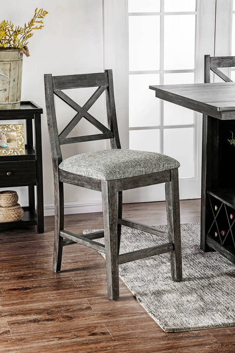 Furniture Of America Faulkton Walnut Wood Finish 2 Piece Dining Chair