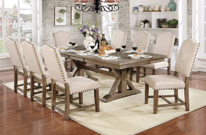 Furniture Of America Julia Gray Wood Finish 9 Piece Dining Table Set