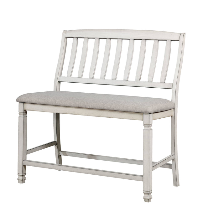 Furniture Of America Kaliyah White Wood Finish Counter Height Dining Bench