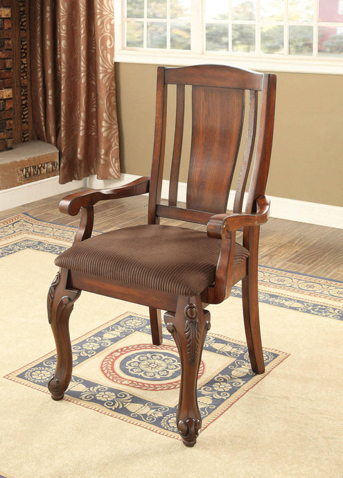 Furniture Of America Johannesburg I Cherry Wood Finish 2 Piece Arm Dining Chair