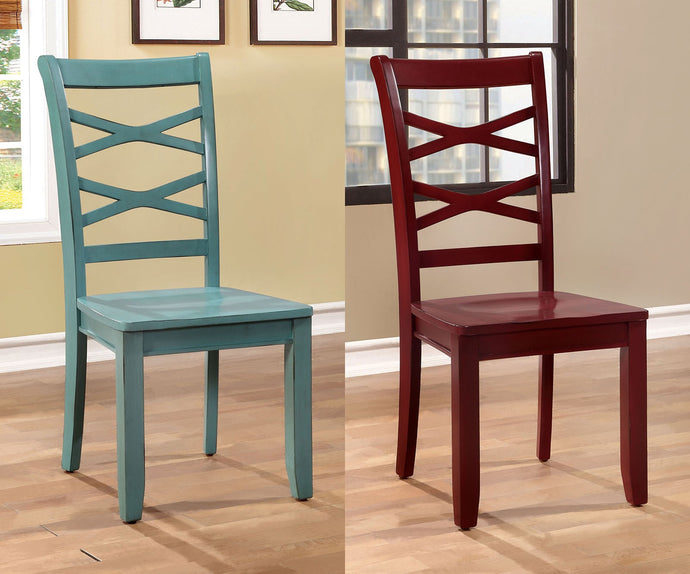 Furniture Of America Giselle Red And Blue Wood Finish 2 Piece Dining Chair