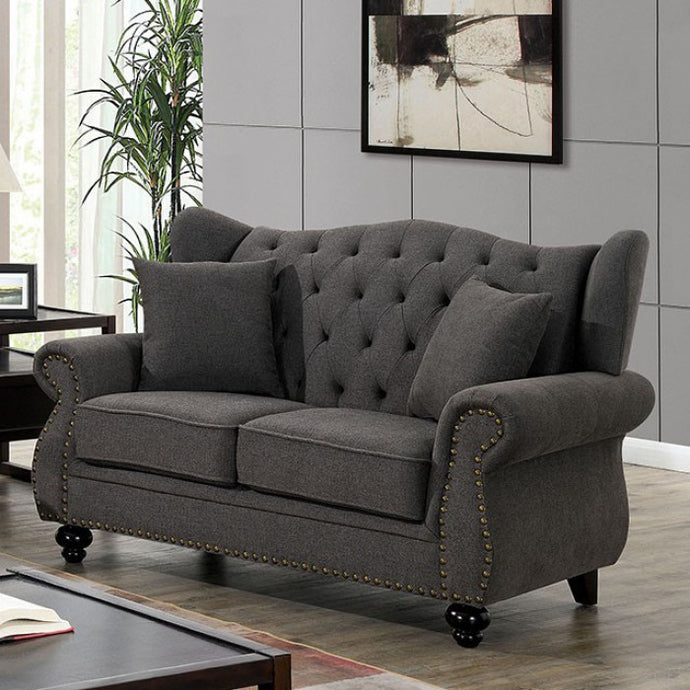 Furniture Of America Ewloe Dark Gray Linen Finish Loveseat