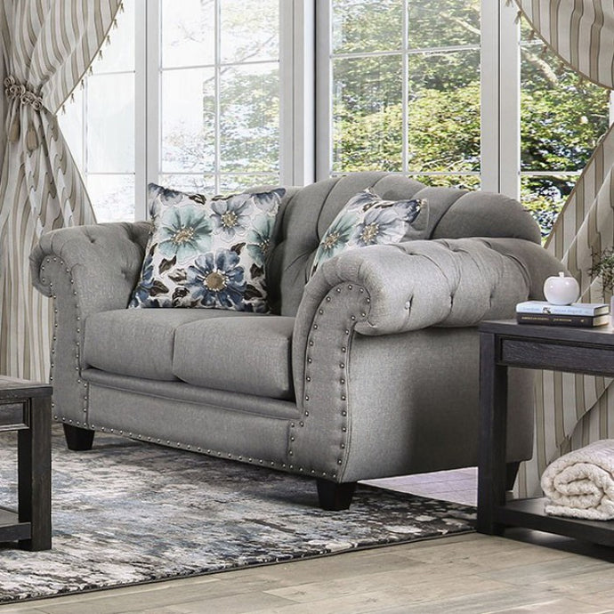 Furniture Of America Glynneath Gray Linen Finish Loveseat