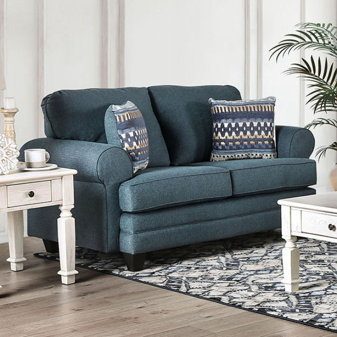 Furniture Of America Ayllmer Dark Teal Linen Finish Loveseat